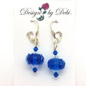 Blue Glass & Swarovski Crystal Leverback Earrings